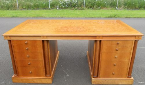 Large Walnut Twin Pedestal Writing Desk